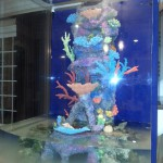 Artificial coral insert made in the USA installed in 220 custom gallon customer tank by Indoor Oceans